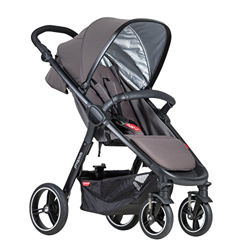 phil&teds Smart City Stroller, Graphite - Huge Seat - Easy and Compact Standing Foot Fold - Newborn Ready - Huge Canopy - Puncture Proof Tires - Hand Operated Brake - Travel System Ready]()