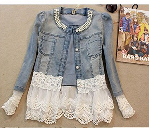 Women Outerwear Slim Lace Patchwork Long-sleeve Denim Sho...