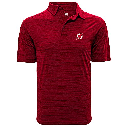 NHL New Jersey Devils Men's Sway Wordmark Polo, XX-Large, Heather Fire Red