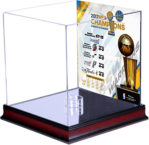 Golden State Warriors 2017 NBA Finals Champions Mahogany Basketball Display Case with Sublimated Collage - Fanatics Authentic Certified by Sports Memorabilia