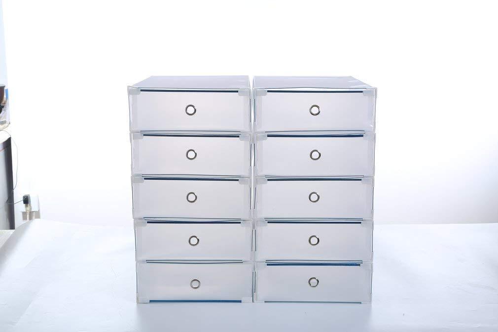 52 x 30 x 11 cm Schuhkasten 10 pcs Schuhkarton aus Kunststoff stapelbar ca transparent Schuhbox faltbar ALTERDJ Stiefel-Aufbewahrungsbox 10er Set