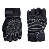 BUYEONLINE Weight Lifting Gloves - Weight Lifting Gloves Gym Workout Wrist Wrap Sports Exercise Training Fitness Black Xl
