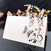 C-Pioneer 50pcs White Butterfly Table Name Place Cards Wedding Party Favors Decor
