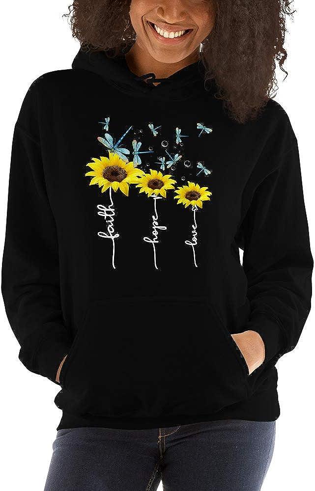 Faith Hope Love Sunflower Balloon and Dragonfly Unisex Hoodie