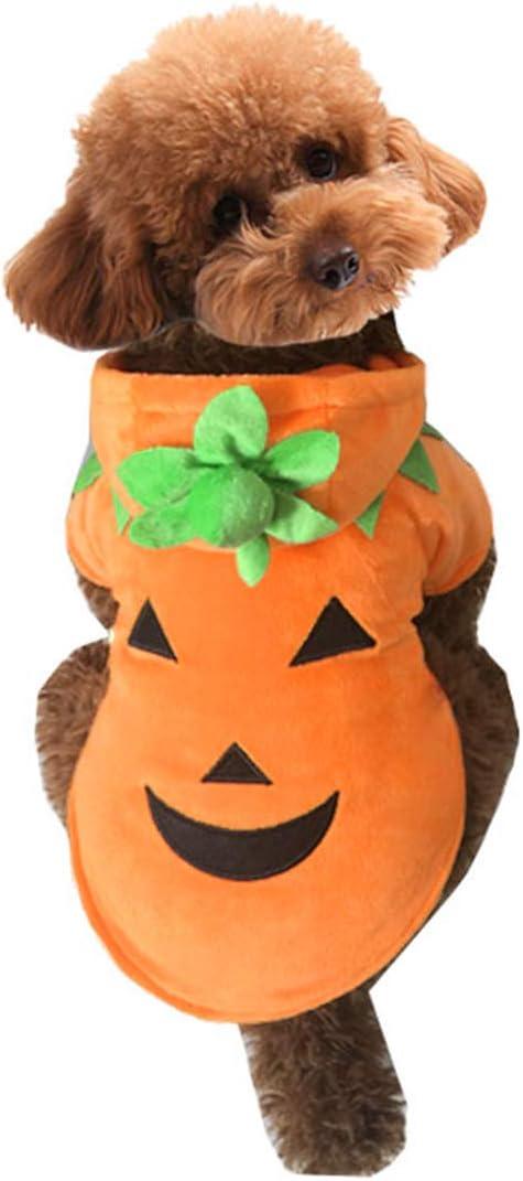 Mogoko Dog Cat Halloween Pumpkin Costume,Pet Cosplay Costumes,Puppy Warm Outfits Fleece Hoodie Animal Autumn Winter Clothes