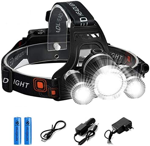 Rechargeable LED Headlamp, 10000 Lumens Bright Headlight, Portable Waterproof Flashlight Kit with 18650 Batteries for Night Hunting Fishing Camping