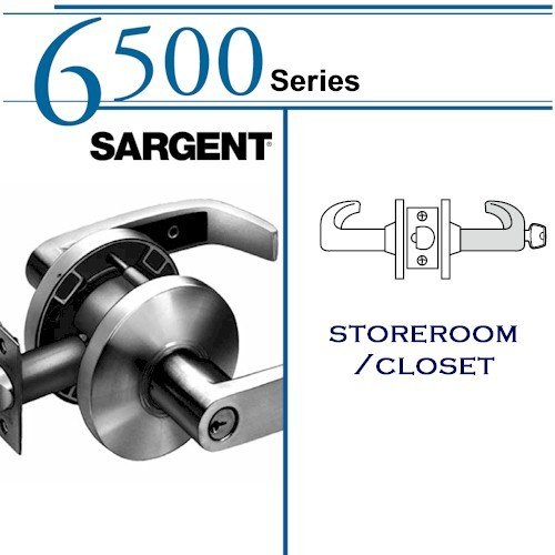 SARGENT 28-65G04-KL-3 STOREROOM CYLINDRICAL LOCK: 6500 SERIES: BRIGHT BRASS by Sargent