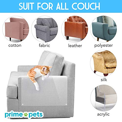 """PrimePets 8Pack Cat Couch Protector, Furniture Protectors from Cats, 6PACK 17""""X12"""" XL Cat Scratch Deterrent Tape, 2 Pack 17""""x 10"""" Large Anti Scratch Training Tape with Pins for Upholstery Sofa, Door"""