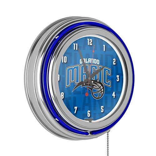 Trademark Global NBA Chrome Double Rung Neon Clock - City - Orlando Magic (City Furniture Orlando)