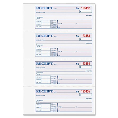 Adams Money and Rent Receipt Book, 3-Part, Carbonless, White/Canary/Pink,7 5/8