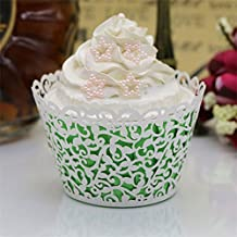 Picowe 50 Pcs Artistic Bake Cake Paper Cups Little Vine Lace Laser Cut Liner Cupcake Wrappers Baking Cup Muffin Holder Case for Wedding Birthday Party Decoration (White)