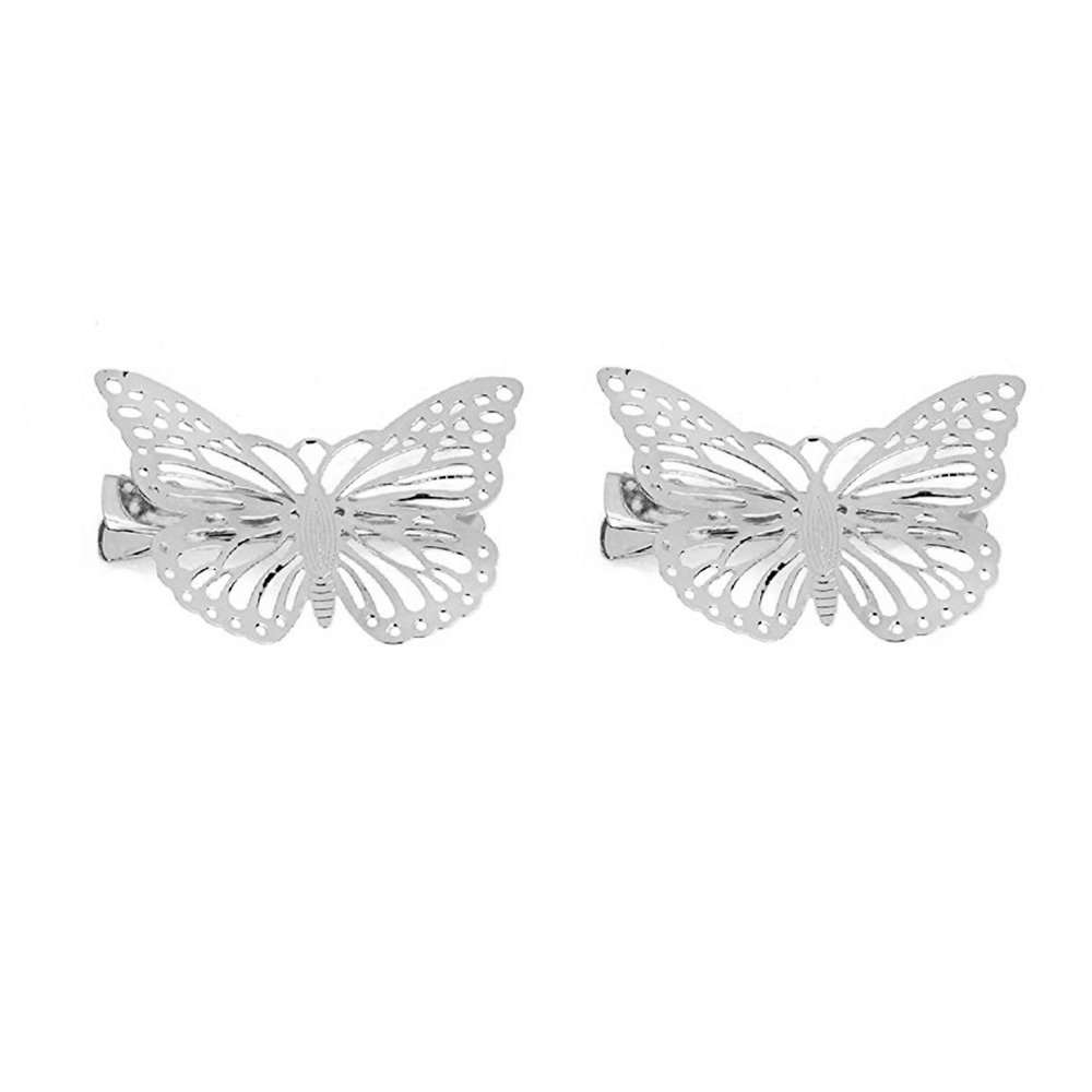 MagiDeal 2pcs Vintage Butterfly Hair Clip Hair Alligator Hair Accessories Headpiece For Women Girls - Silver STK0156002460