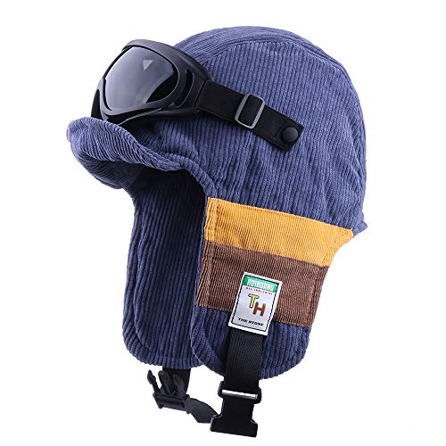 Aviator Bomber Hat With Goggles Costume Winter Earflap Trapper Trooper Faux Leather Hat Pilot Snow Ski Cap
