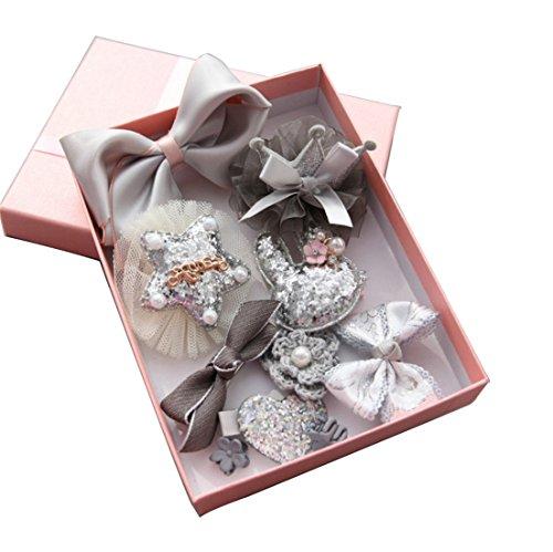 Children's Headdress, 10 Pcs Baby Little Girls Side Hair Clips Bows Barrettes Hairpins Gift Set (Gray)
