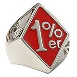 Mens Red Enamel 1% ER One Percent Stainless Steel Motorcycle Biker Ring