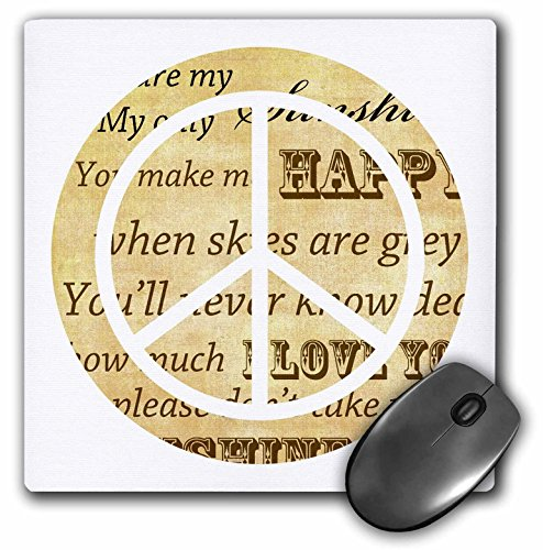 (3dRose 8 X 8 X 0.25 You Are My Sunshine Peace Sign Inspirational Art Mouse Pad (mp_110430_1))