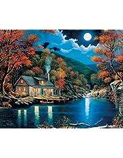 Fokenzary Doe-het-zelf verf op nummers olieverfschilderij canvas voor kinderen of volwassenen, beginner, met borstels en acrylverf