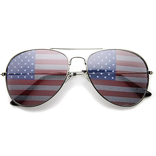 grinderPUNCH American Flag Aviator Sunglasses Glasses Silver - Flag Sunglasses