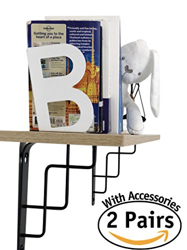 4 pack of L Shape Heavy duty decorative steel metal shelf brackets for Wall mounted shelves| 2 pairs with mounting accessories| Semi industrial design| for home or workplace| 7 to 12 inch shelves