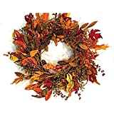 Fall Meadows 22 Inch Fall Wreath Autumn Decorative Wreath for Front Door Faux Pine with Orange and Yellow Leaves Pine Cones and Assorted Berries Indoor Seasonal Thanksgiving Home Decor
