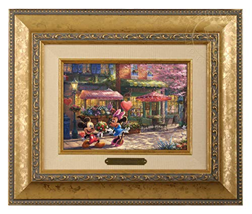 Thomas Kinkade Studios Mickey and Minnie Sweetheart Cafe 5 X 7 Brushwork (Gold Frame) ()