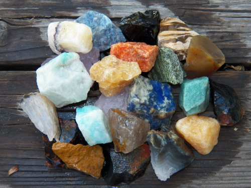 Fundamental Rockhound Products  1 Lb Rough Brazil Mix Bulk Rock For Tumbling Metaphysical Gemstones Healing Crystals Wholesale Lot     Minimum 15 Different Stones  Maybe More      Rose Qtz  Green Qtz  Blue Qtz  Amazonite  Sodalite  Black Onyx  Jaspers  Agates