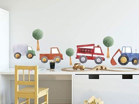 Grazdesign Wandtattoo Autos Kinderzimmer Wandaufkleber Baume Fur Jungen Deko Fur Babyzimmer Baby Jungenzimmer Jungs Aquarell 57x80cm Amazon De Kuche Haushalt