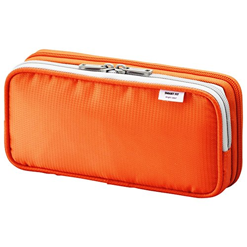 LIHIT LAB Double Pen Case, L size, Orange, 4.1 x 8.7""