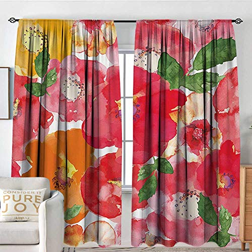 - Blackout Thermal Insulated Window Curtain Valance Flower,Watercolor Styled Effect Floral Theme Beautiful Flowers and Leaves Pattern Art,Red and Orange,Rod Pocket Valances 120