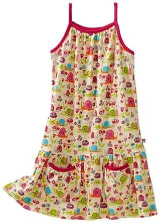 Zutano Little Girls' Garden Snail Puff Pocket Dress, Cream, 3T