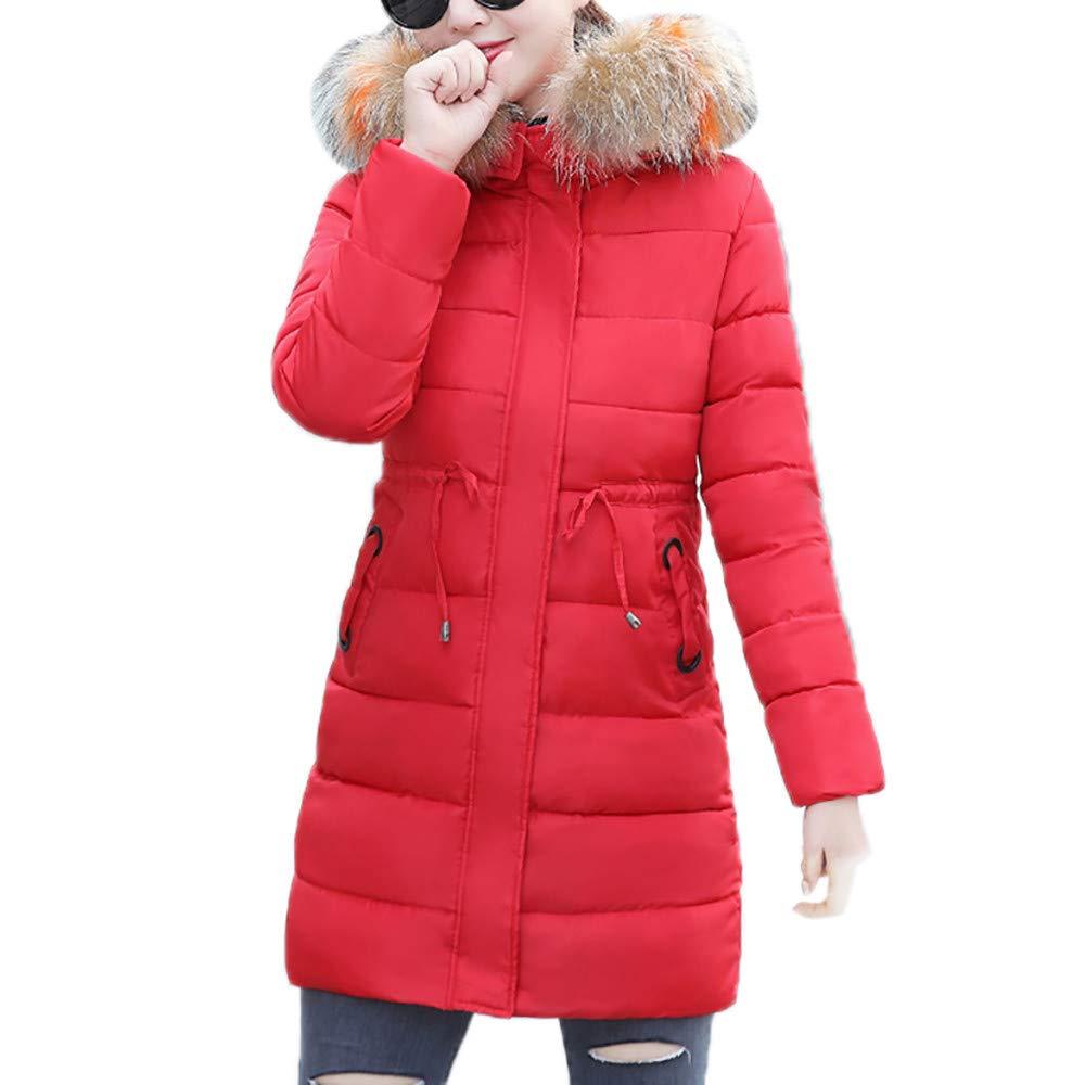 GridNN Women Faux Fur Hooded Collar Long Jackets Warm for Wet Weather Thicken Coat