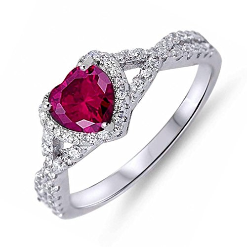 Simulated Birthstone Cubic Zirconia Halo Infinity Womens Girls Sterling Silver Ring Size 12 - Ruby (Birthstone Ring Silver July)