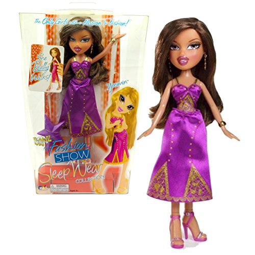 MGA Entertainment Bratz The Fashion Show Sleep Wear Series 10 Inch Doll - YASMIN in Purple Pajama with Gold Accents with Earrings, Bracelet and - Yasmin Accent