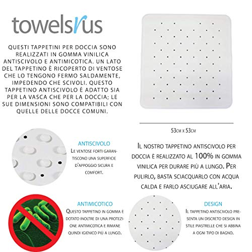 Towelsrus Anti Fungal Non Slip Rubber Shower Mat White