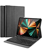 ProCase iPad Pro 12.9 Keyboard Case 5th Gen 2021/ 4th Gen 2020/ 3rd Gen 2018 [Support Apple Pencil 2 Charging], Slim Lightweight Smart Cover with Detachable Wireless Keyboard –Black