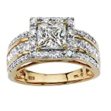 Princess-Cut White Cubic Zirconia 18k Gold over .925 Sterling Silver Triple-Row Halo Ring Size 8