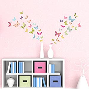 Decowall DS-8005 Patterned Butterflies Kids Wall Stickers Wall Decals Peel and Stick Removable Wall Stickers for Kids Nursery Bedroom Living Room (Small)