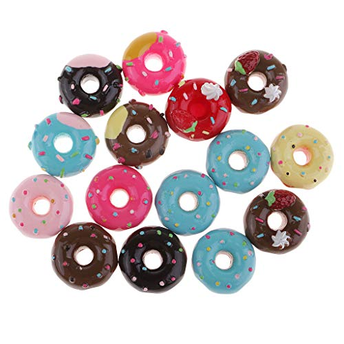 Ornaments Hair Tie - Prettyia 15PCS/Pack Assorted Color Flatback Resin Donut Hair Band Hair Tie Ornaments DIY Crafts Festival/Party Ornaments