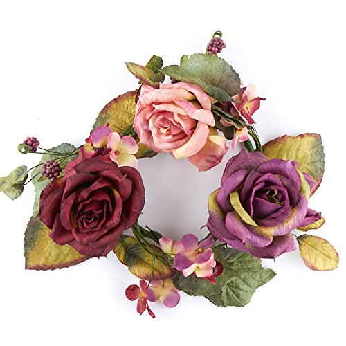 (Factory Direct Craft Poly Silk Rose Candle Ring | Indoor Decor)