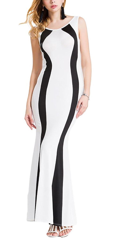 Aivtalk Damen Ohne Arm Maxi Casual Kleid Etuikleid Partykleid - Gestreift Weiß