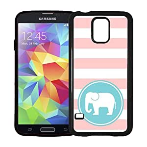 Love Elephants Baby Pink Stripes Circle Hipster Samsung Galaxy S5 SV Case - Fits Samsung Galaxy S5 SV