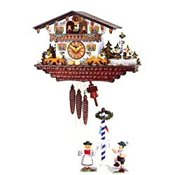 mygermanstore Original One Day Mechanical Movement Cuckoo Clock with Schuhplattler and Beer Drinkers 11.5 X 18 Inch