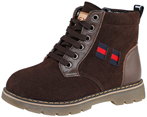 SKOEX Boy's Nubuck Lace-Up Winter Warm Plush Snow Boots (Toddler/Little Kid/Big Kid) US Size 2 Coffee (2 Zipper Calf Sneaker Boot)
