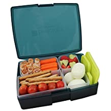 Lunch Box - Leakproof Translucent Midnight Bento Box with 5 Pear Containers - USA Made