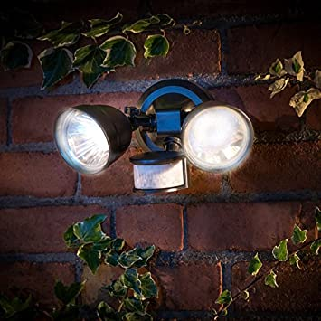 Outdoor twin head solar powered security light amazon garden outdoor twin head solar powered security light mozeypictures Image collections