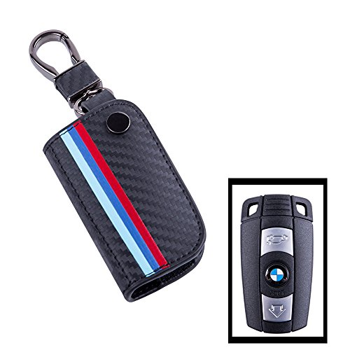 JKCOVER For BMW Remote Fob, M-Colored Stripe Black Carbon Fiber Pattern Leather Key Holder with Keychain (For Older 1 3 5 6 Series X5 X 6 Z4)