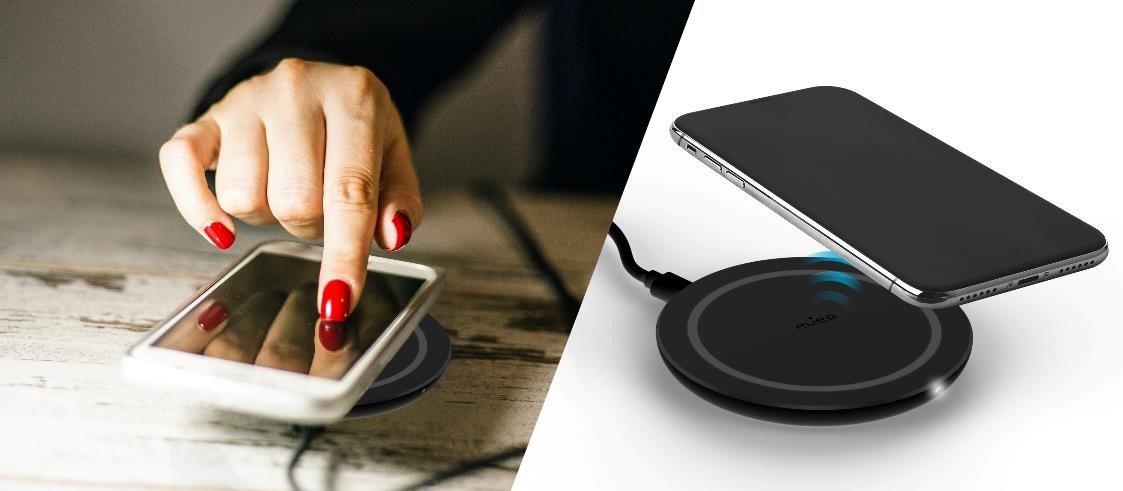 /Nero PURO ultracompatto Wireless Veloce Stazione di Ricarica per Qi Smartphone/