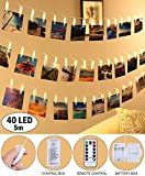 LED Photo Clip String Lights - Qoolivin 5M 40 Clips USB Plug Warm White LEDs Battery Operated Fairy String Lights Bedroom Home Decoration for Hanging Photos, Cards and Artwork
