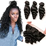 Brazilian Loose Wave Bundles with Frontal 13×4 Pre Plucked Lace Closure 14 16 18+12 100 Human Hair Bundles Remy Natural Balck For Sale