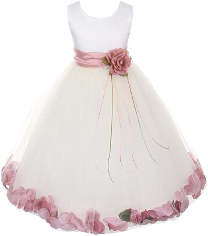 Kids Dream Little Girls White Satin Rose Petal Sash Flower Girl Dress